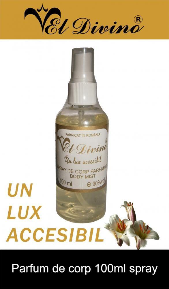 After shave and Perfume body. Spray de Corp parfumat ( Body Mist ) El Divino 100 ml Spray-urile de corp ( parfumurile de corp ) pot fi uneori un inlocuitor al parfumului: -in zilele foarte calde de vara cand orice parfum poate parea greu; -atunci cand din cauza transpiratiei, parfumul ne poate irita pielea; -cand suferim de anumite alergii si un miros puternic ne deranjeaza; -dupa dus sau baie, ca sa mirosim frumos si discret.