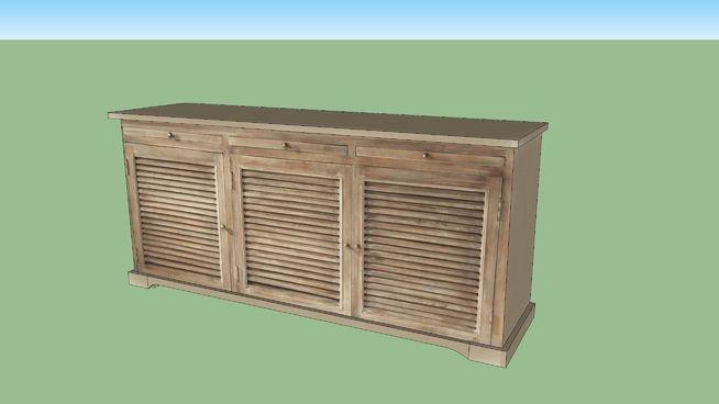 Envie d'authenticité ? Succombez aux charmes de ce magnifique meuble buffet en bois Persiennes.    Avec sa peinture cérusée et vieillie, ce buffet 3 portes deviendra la pièce maitresse de votre salon.    Pour compléter votre buffet bahut, harmonisez votre décor avec le meuble tv d'angle.   Dimensions (cm) : H 78 x L 170 x P 42   Poids : 58 Kg