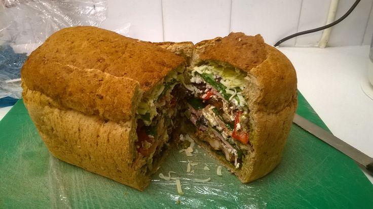 Picnic loaf chicken, ham, roasted veg and salad