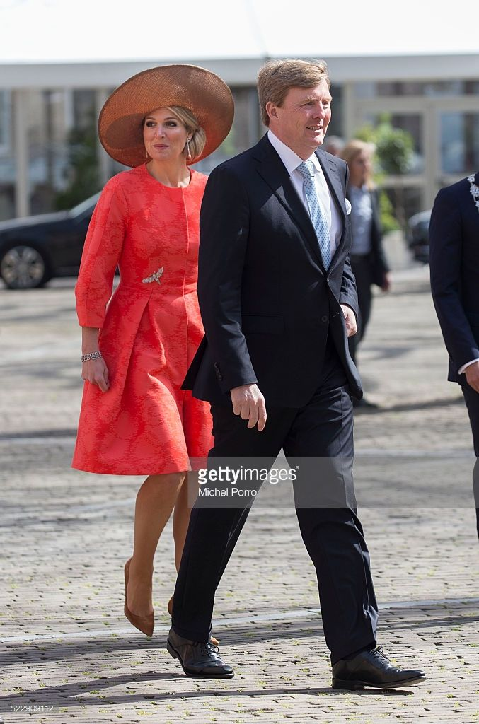 King Willem-Alexander and Queen Maxima of The Netherlands arrive to attend the Four Freedoms Awards on April 21, 2016 in Middelburg Netherlands.