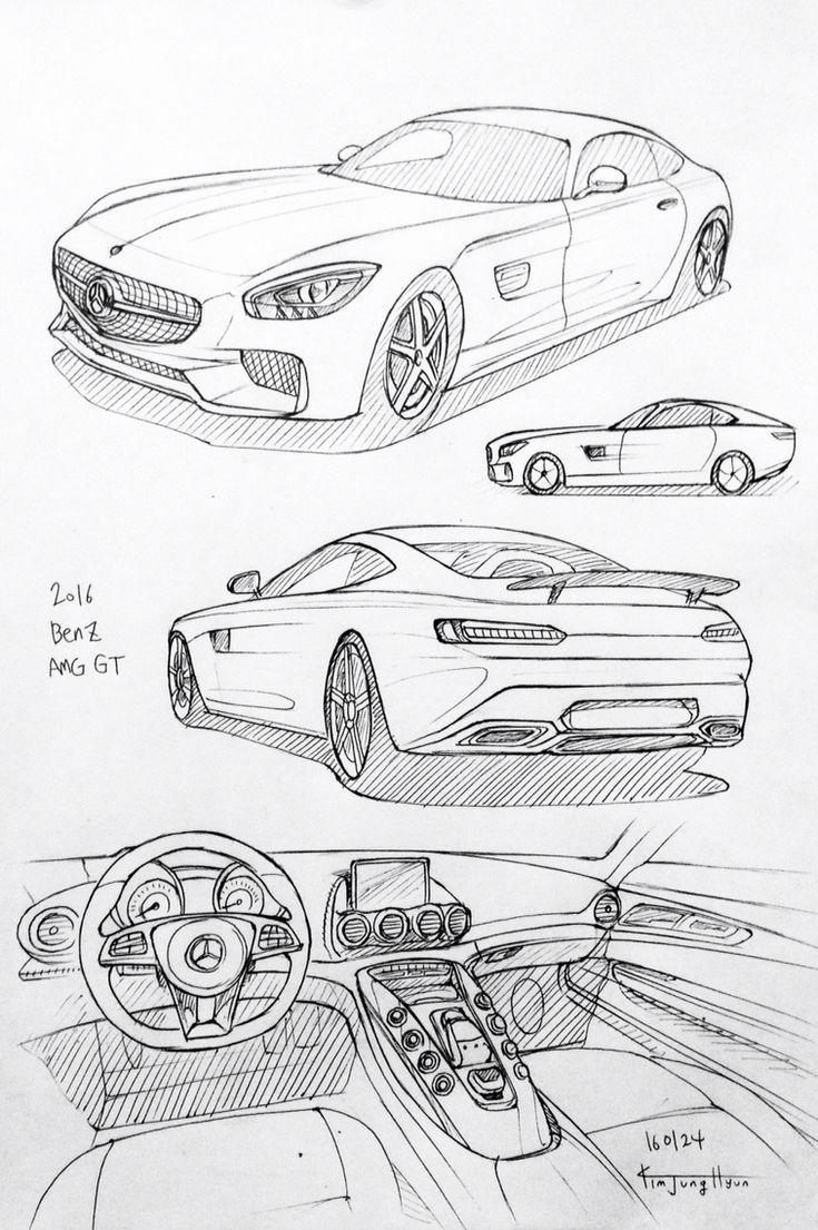 Autozeichnung 160124 2016 Benz Amg Gt Prisma Auf Papier Kim J H Zeichnungen Von Autos Auto Zeichnungen Auto Zeichnen