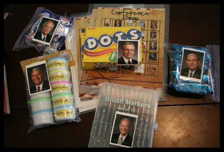 Love this idea for General Conference! A different activity or treat is assigned to a picture of each apostle. When he is speaking, the kids get to work on that activity or eat that snack.
