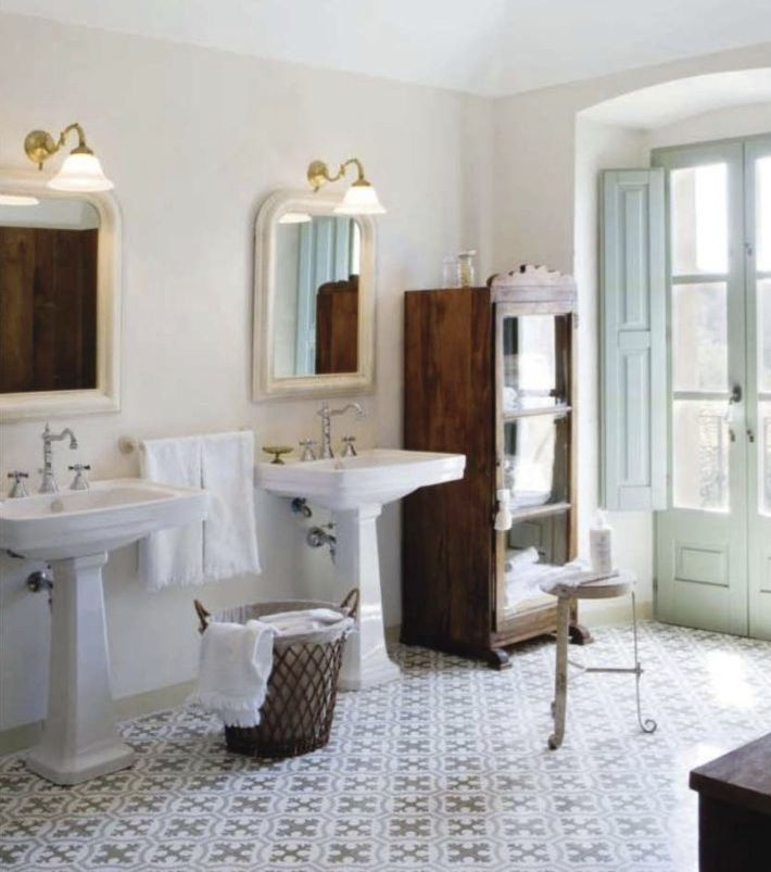 romantic bathroom interior design love the tile floor and the shutters on the doors