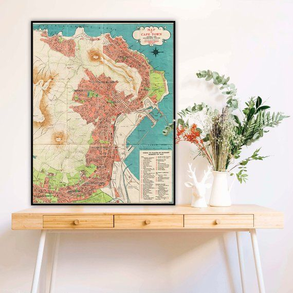 Cape Town map, South Africa print, Map of Cape Town central and ...