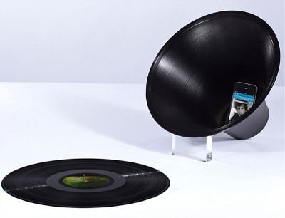 Change the Record Loudspeaker - upcycled vinyl records refashioned to boost tunes playing on your phone. Cool.