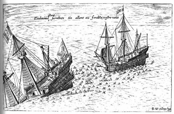 Ilustración de 1603 que refleja el hundimiento del galeón San Diego después del enfrentamiento con los navíos holandeses capitaneados por Olivier van Noort en el año 1600 en la Bahía de Manila, Filipinas.