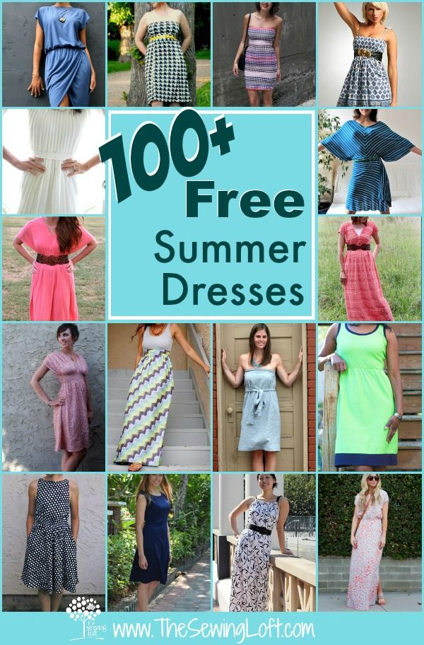 100 Easy Summer Dresses. More than 100 free dress sewing patterns for you to try. Most of these dress patterns are easy to sew for any skill level. Includes all styles and sizes, both in stretch knit fabrics and in cottons, and lots more. Sleeveless, short sleeve and strapless. For daytime, casual or some more dressy that you can make a great dress for the summer evenings too. And all FREE Sewing patterns :-) From The Sewing Loft
