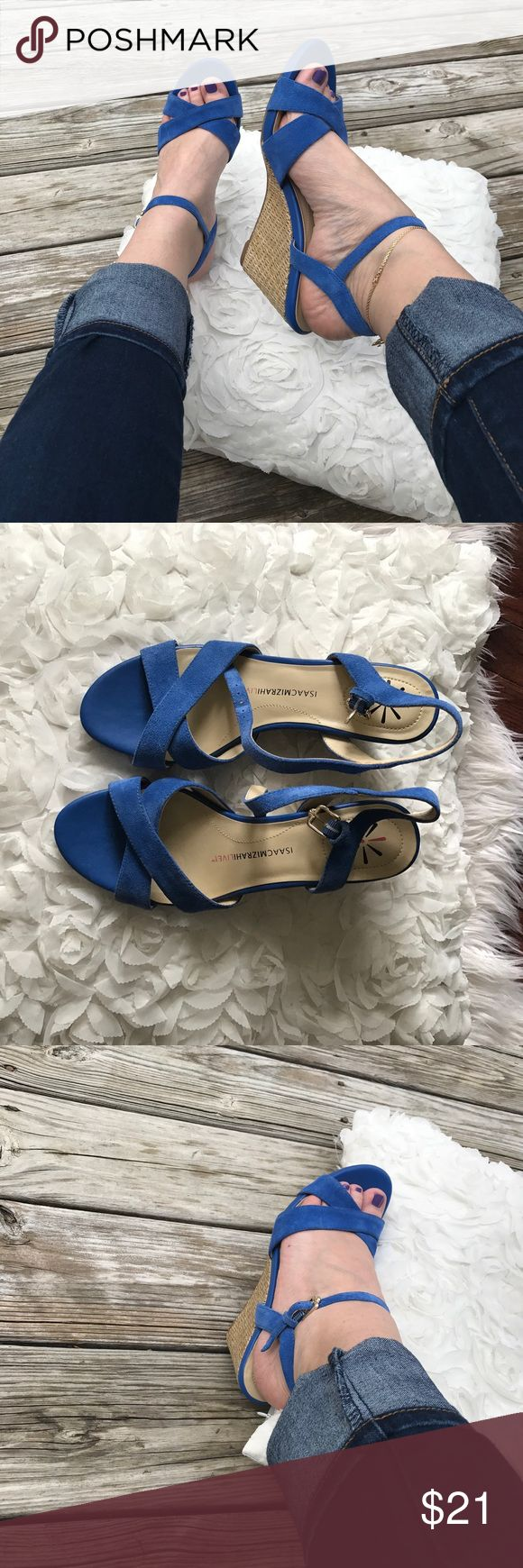 ISAAC MIZRAHI royal blue wedge sandals Beautiful summer shoes that are polished and stylish enough to wear at the office. Never worn, shoes are in new condition. No trades!!! Isaac Mizrahi Shoes