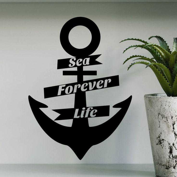 Wall Decal Anchor Sea Forever Life Nautical Bedroom Decor Sticker Murals AM57 #Stickalz