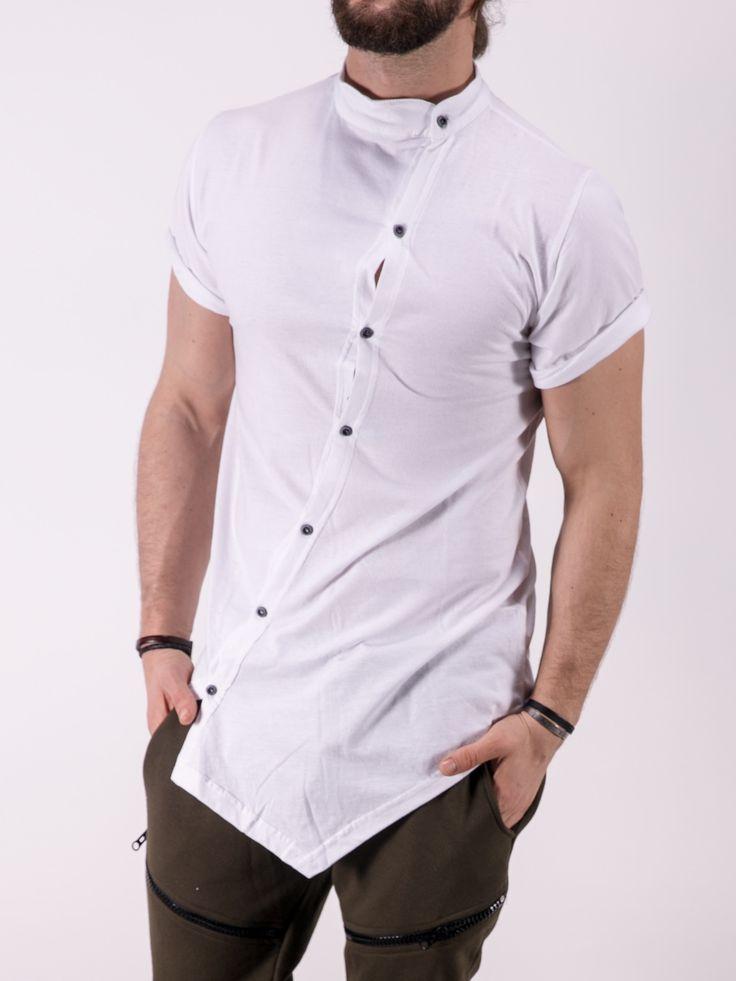 K&B Men Moved Buttons Mock Neck T-shirt - White