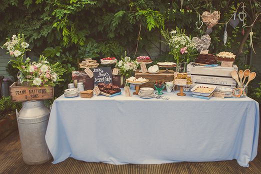 Wedding dessert table with rustic crates, vintage crockery and pretty flowers from And The Dish Ran Away With The Spoon