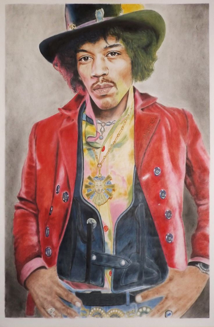 """James Marshall Hendrix ( Jimi Hendrix ) was a great musician as a guitarist, singer also songwriter for Rock music genre who had produced more than one thousand songs along his life.  This is my newest drybrush painting, size 28"""" X 42""""."""
