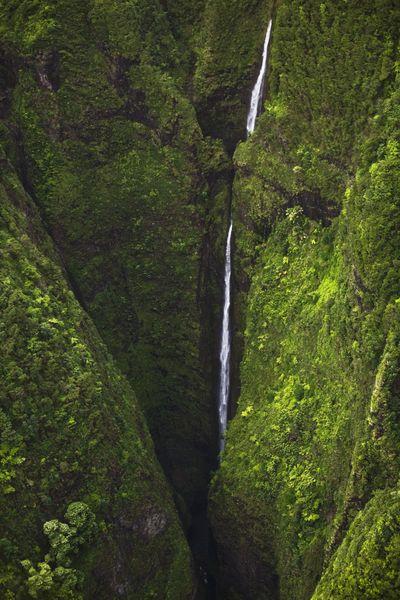 Sacred Falls waterfall cascading through rainforest valley, Sacred Falls State Park, Oahu, Hawaii. #waterfall #hawaii