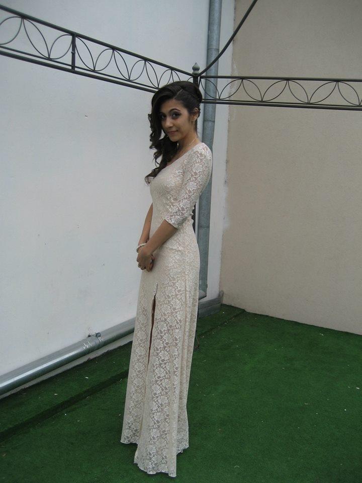 Bianca - nude lace evening dress