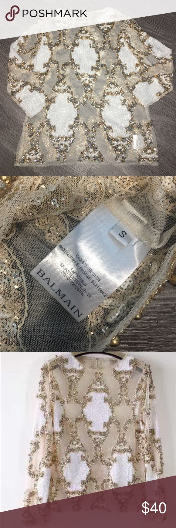 BALMAIN inspired nude mesh sequin runway top small Beautiful BALMAIN inspired women's nude mesh top with white and gold sequins and beading. Size small. New. Balmain Tops Blouses