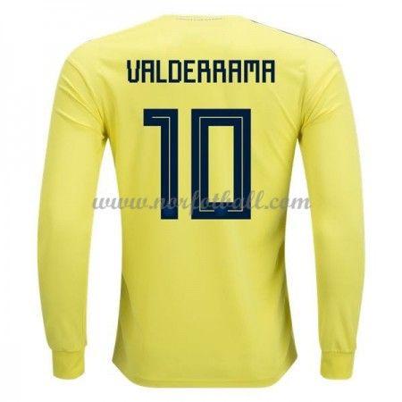 Billige Colombia Drakt VM 2018 Carlos Valderrama 10 Langermet Hjemme Fotballdrakter