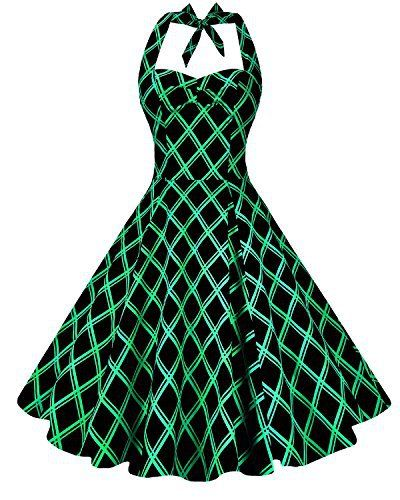 New Trending Formal Dresses: Anni Coco Womens Marilyn Monroe 1950s Vintage Halter Swing Tea Dresses Green Stripes Diamond-Shaped Small. Anni Coco Women's Marilyn Monroe 1950s Vintage Halter Swing Tea Dresses Green Stripes Diamond-Shaped Small  Special Offer: $24.99  233 Reviews 2nd Generation Design Halter Vintage Dress. FEATURE – Lightweight Fabric; V-Neckline; Wide Halter Strap; Concealed Zipper at Side;...