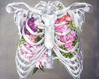 Anatomía floral: Corazón impresión de la acuarela por tinyartshop