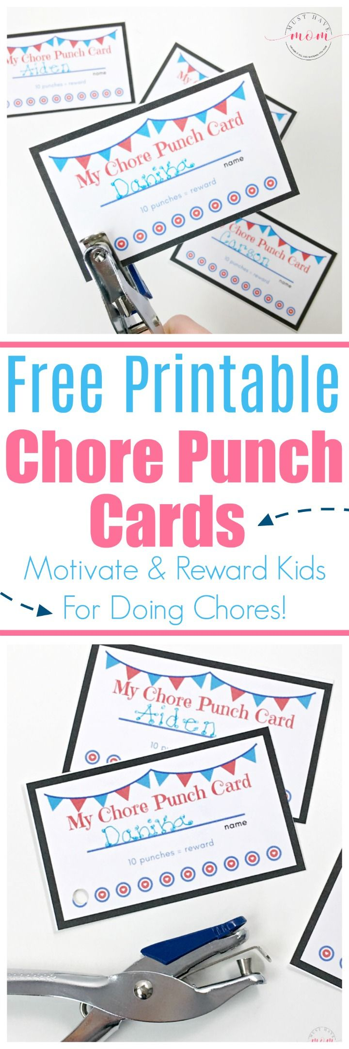 Free printable chore punch cards for kids. Get your kids to do chores without complaining!