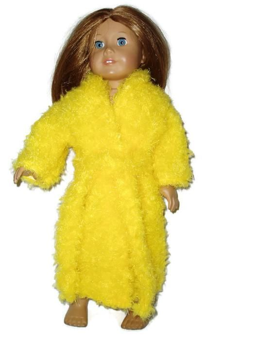 Bright Yellow Fuzzy Robe fits American Girl Dolls.