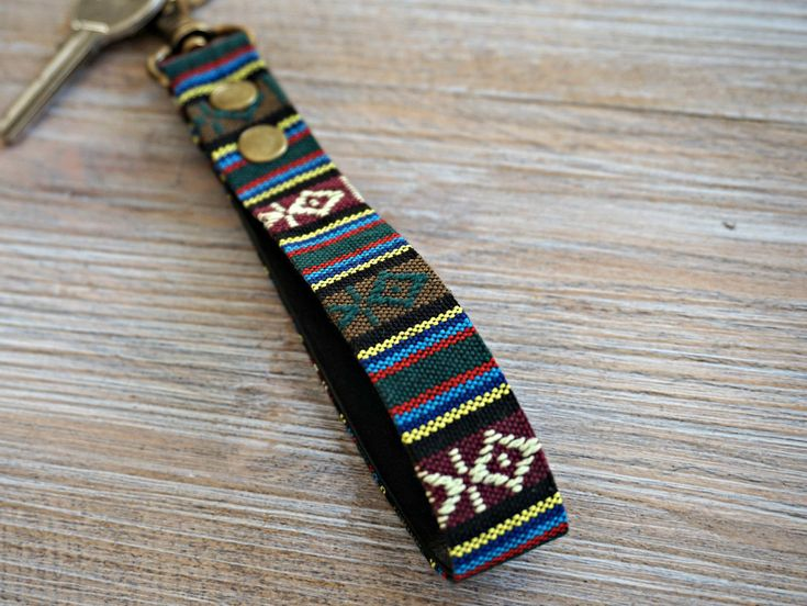Aztec KeyFob - Aztec Rug Inspired Keyring - Unique Key Chain - Wristlet Key Fob with Clips and Split Ring by theWatermelonDesign on Etsy