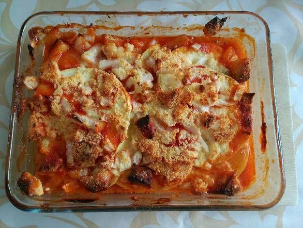 Moussaka de patata, calabacín y lomo adobado