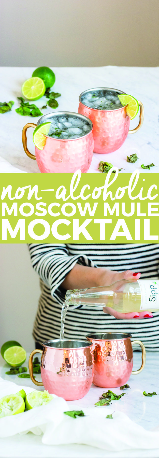 Non-Alcoholic Moscow Mule Mocktail | homemade mocktail, mocktail recipe, easy mocktail recipes, holiday drink recipes, non-alcoholic drink recipes, non-alcoholic mocktail recipes, classic mocktail recipes || The Butter Half via @thebutterhalf #mocktails #mocktailrecipe #moscowmule #nonalcoholic