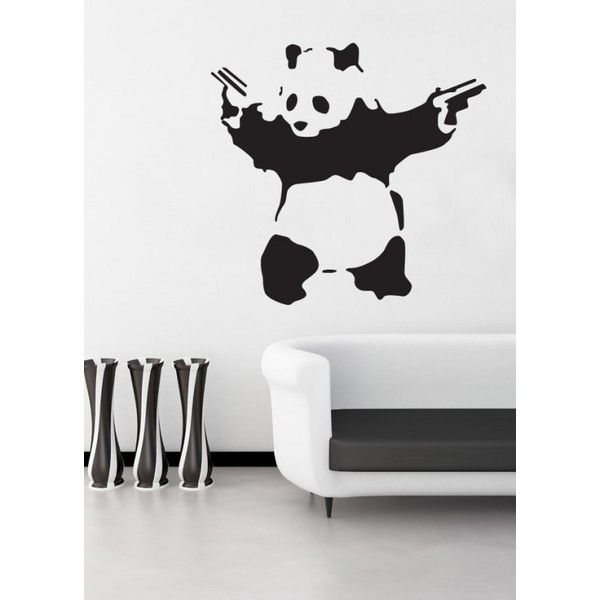urbandecal panda with guns banksy wall art sticker rsd liked on polyvore featuring home home decor wall art black and white wall art