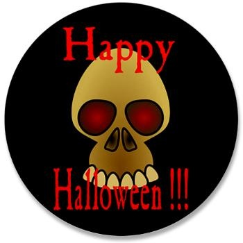 "Happy #Halloween Skull (Black) 3.5"" Button"
