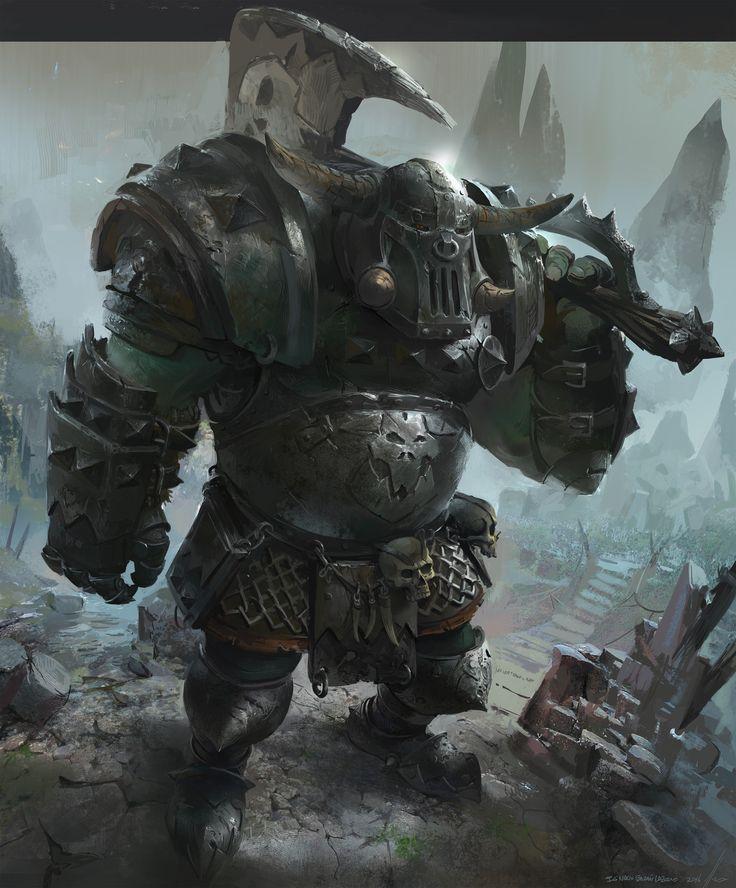 Orc Warhammer total war fanart, Ignacio Lazcano on ArtStation at https://www.artstation.com/artwork/gG0L8