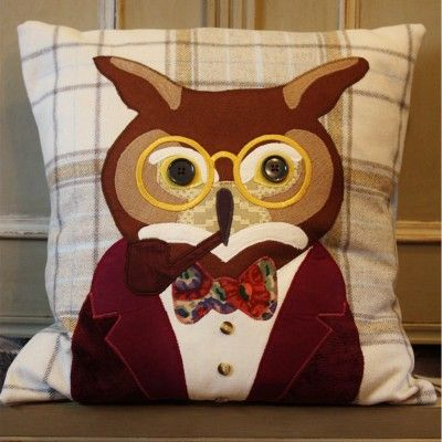 #owl #cushion #tweed #handmade #cushion #animal #applique #british #gift #interiors #design #craft