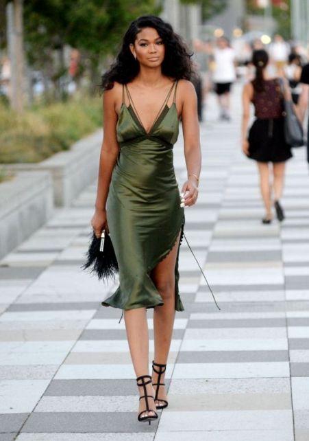 model chanel iman rocking a green alexander wang slip satin dress with caged black heels a bit. Black Bedroom Furniture Sets. Home Design Ideas