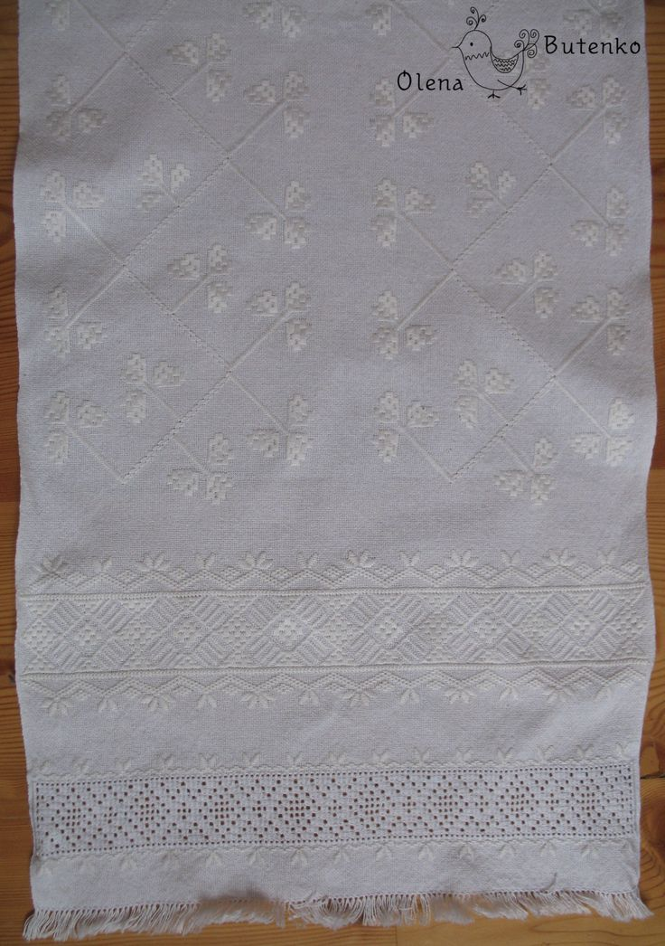 "Ukrainian white rushnyk. I used motifs and techniques from Poltava region: ""Merezhka Poltavska"" and satin stitch motif such as ""Lyshtva""."