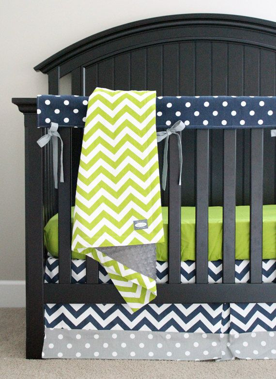 Custom Crib Bedding Lime Green Chevron Navy Blue by GiggleSixBaby