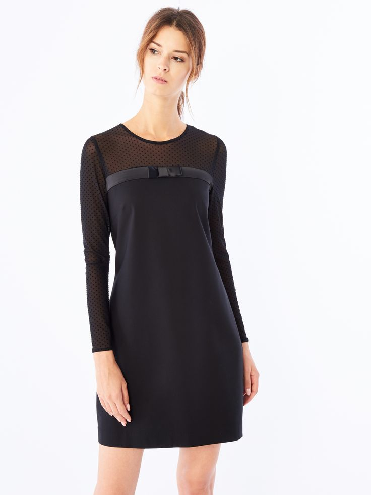 Sukienka o tiulowych rękawach, Nowości, czarny, MOHITO