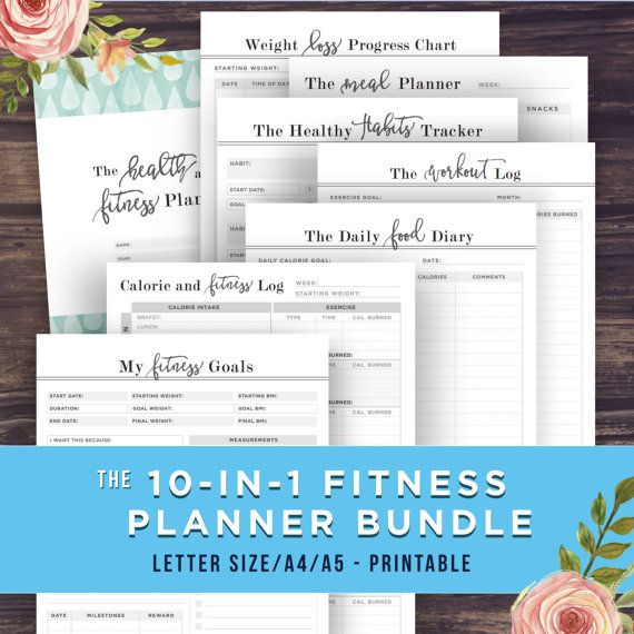 Fitness Planner Bundle A5/A4/Letter Health by PrintablePineapple