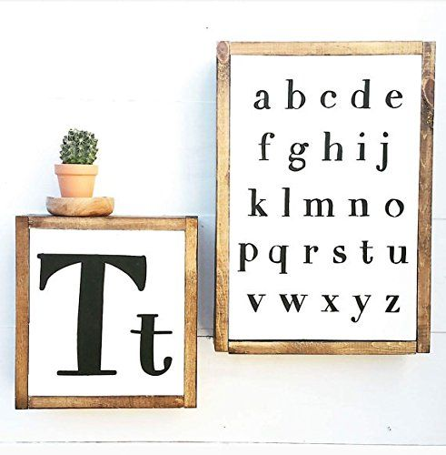 Alphabet Sign   ABC Nursery Decor   Wood Letter Sign   Letter Wall Decor   Farmhouse Letter   Personalized Framed Letter Sign Shelf. Yes please!! Personalized framed letter and alphabet signs, perfect for the woodland nursery or children's room decor. Minimalist matte white with black lettering and a deep frame that doubles as a shelf. Non toxic acrylic paint. Alphabet Sign - 13x18.5 depth is 3.5 Letter Sign - 10.5x11.5 depth is 3.5 ****ADD YOUR LETTER IN THE COMMENTS TO SELLER BOX AT...