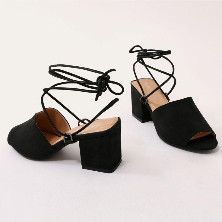 4972845d92e Paddington Lace Up Block Heeled Mules in Black | FOOTWEAR | Heeled ...
