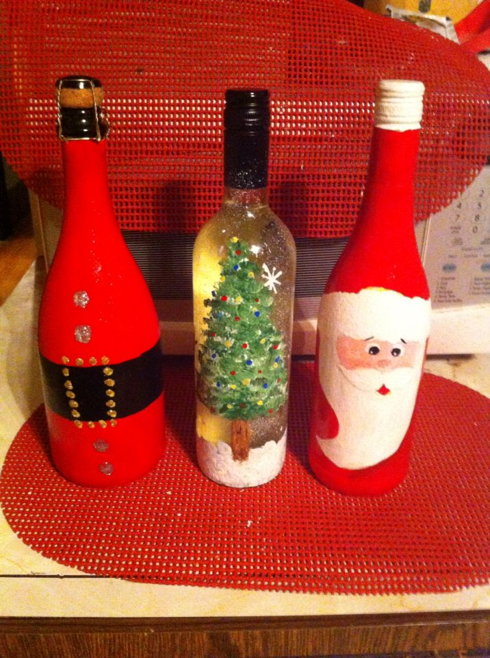 Decoradas para navidad botellas las decoradas toda ocacion pinterest wine craft diy - Botellas de cristal decoradas ...
