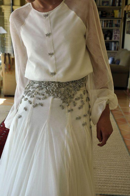 diseño ranglan de Roberto Diz que Mercedes Peralta lució en su boda.