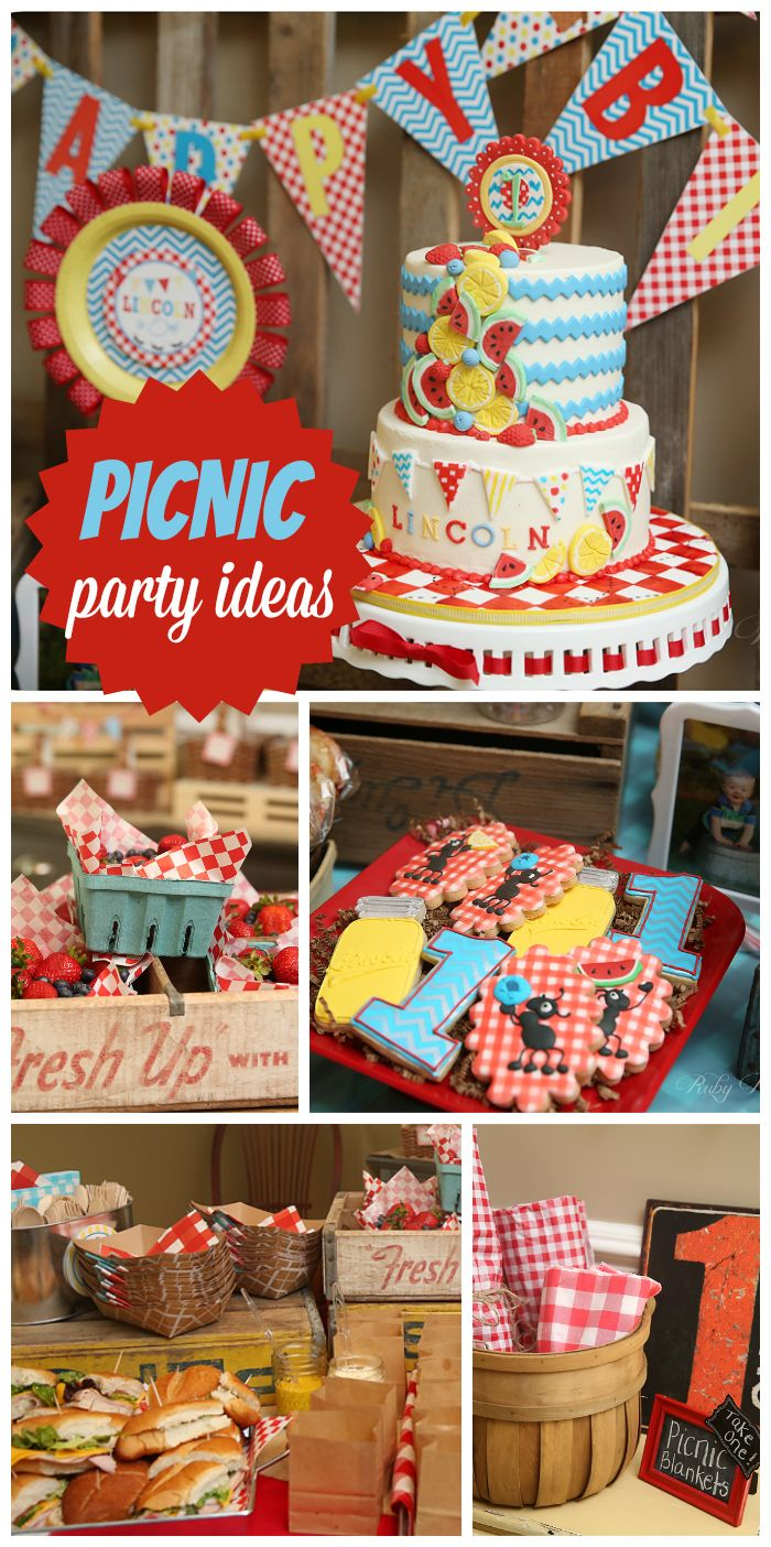 A first birthday party with a Picnic theme, red gingham decorations, and a  fantastic