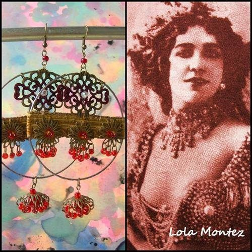 https://flic.kr/p/NUfF9J | Lola Montez hoops | Hand crafted dangle earrings with recycled vintage bangles and hand made Jhumkas. Antique 1770's golden trim.