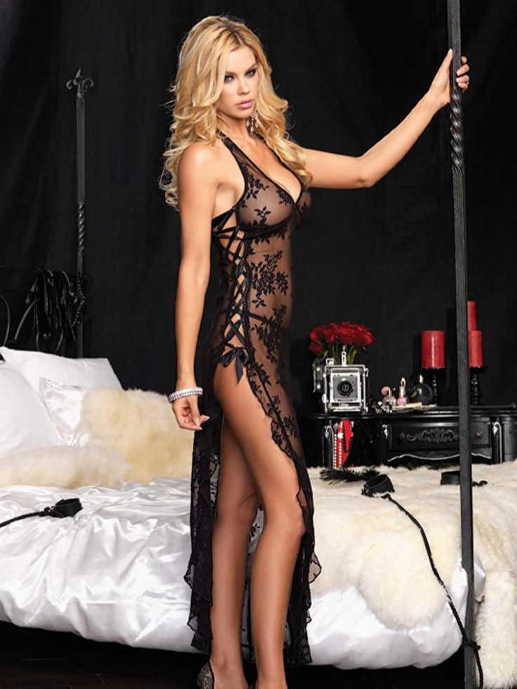 SeXy Sheer Stretch Lace Nightgown Long Gown Thong Panty Set Black or Red Color: Black. Source: http://amzn.to/14NsUnV