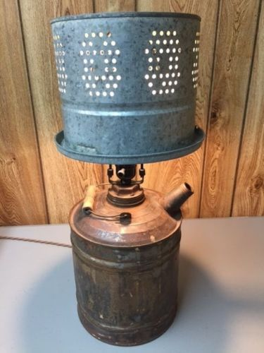 Vintage Steampunk Industrial Gas Can Table Lamp Works Great Look