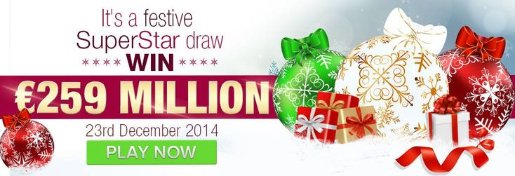 To make your festive season even more festive, PlayHugeLottos have decided to spoil you with a SuperEna Max SuperStar Draw! This special once-off SuperEna Max draw is taking place on Tuesday 23rd December, giving you the chance to win a total jackpot prize of 259 million euro! Play it online here:http://ads.playukinternet.com/tracking.php/text/3113/12626/3368003/1