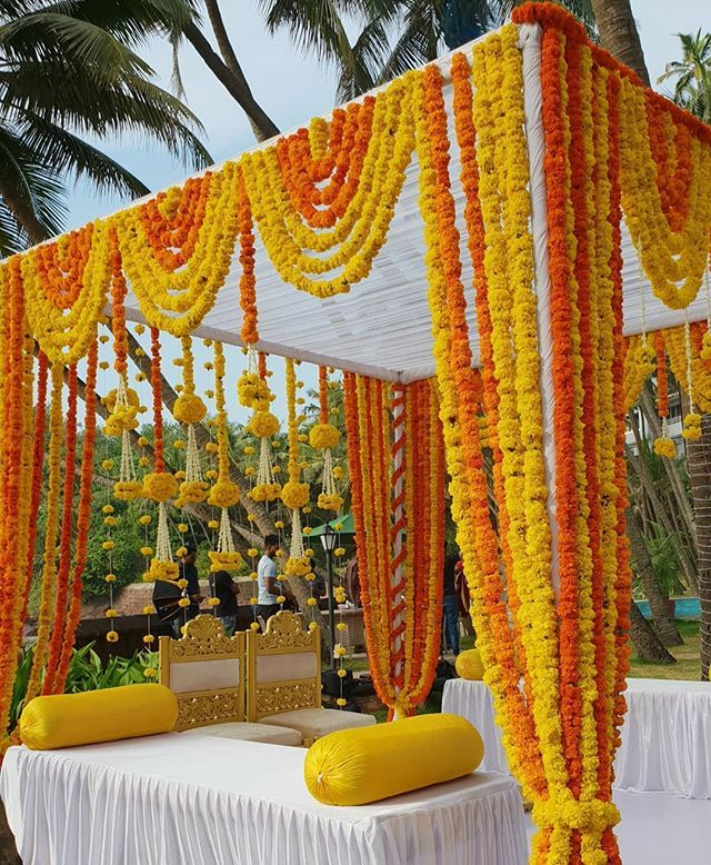 Marigold mandap for a budget-friendly wedding