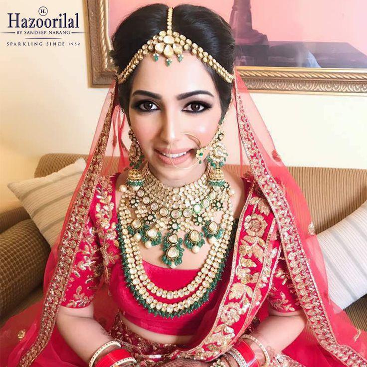 Looking spectacular in the most special Polki Bridal Jewellery Collection from the House of #HazoorilalBySandeepNarang  #HazoorilalBrides #HazoorilalClientDiaries #HappyBrides #Polki #BridalJewellery #Since1952 #ItcMaurya #DlfEmporio #GK-1 #HazoorilalJewellers #Hazoorilal