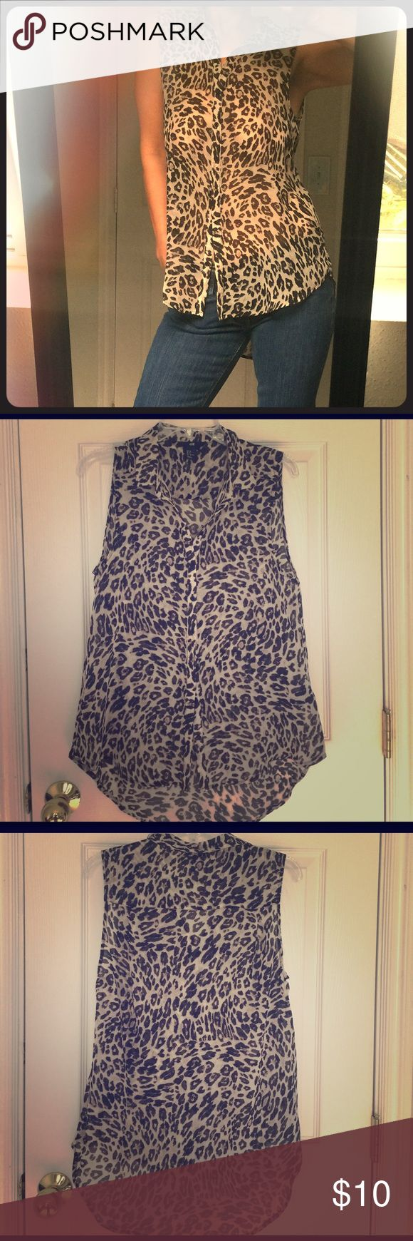 H&M short sleeveless button up leopard print shirt Perfect used condition, in a size 8 is the super sheer button up sleeveless shirt in leopard print. Free of stain, rip or tear. Smoke and pet free! H&M Tops Button Down Shirts