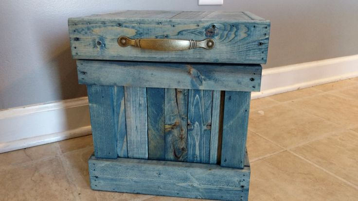 Bathroom Trash Can, Rustic Wood Trash Can, 4 Gallon Trash Can, Small Waste Basket, Garbage Can, Office Garbage Can, Denim Blue, Blue Jeans by OurTwistedCreations on Etsy