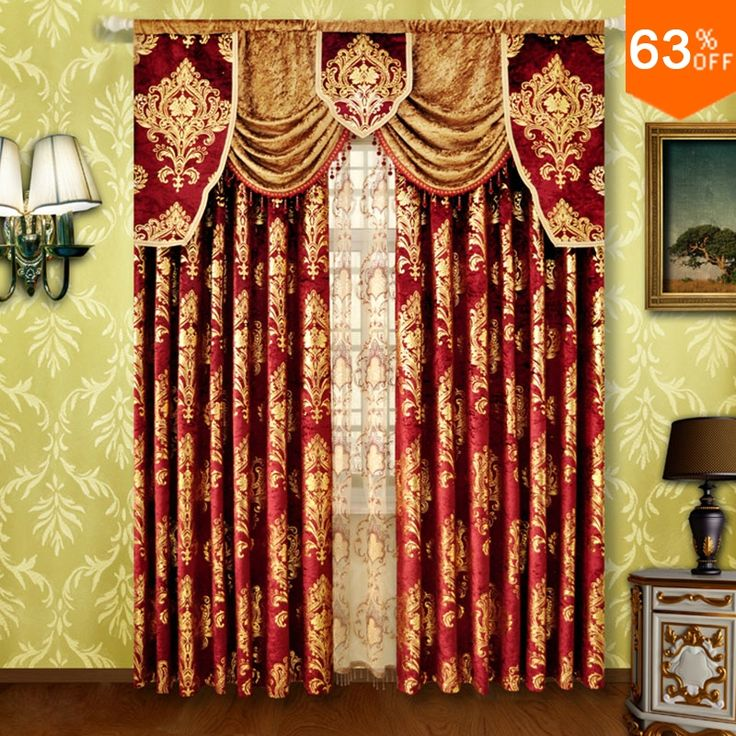 Find More Curtains Information About Red Small Fur Surface Embroidery  Golden Flowers Curtains Rod Stick Curtain